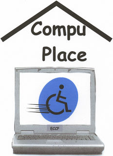 [Logo: CompuPlace]Roof over laptop showing on screen a Universal symbol of access zooming On the Go
