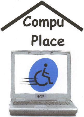 [Logo: CompuPlace]laptop showing on screen a Universal symbol of access zooming On the Go
